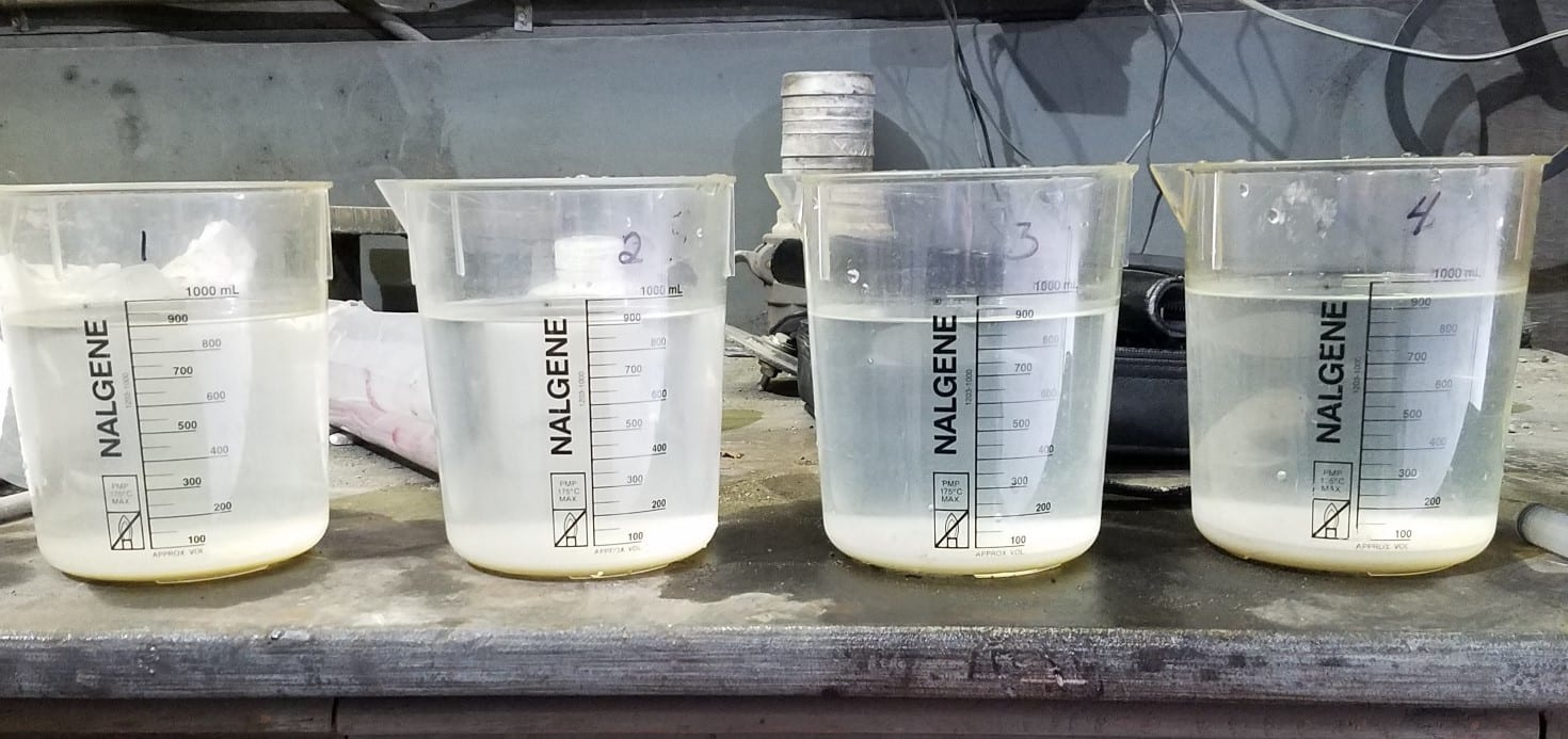 four water beakers showing onsite testing