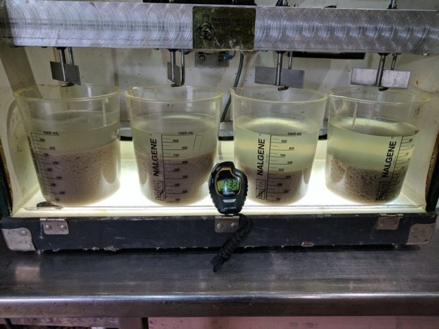 water treatment jar test in progress