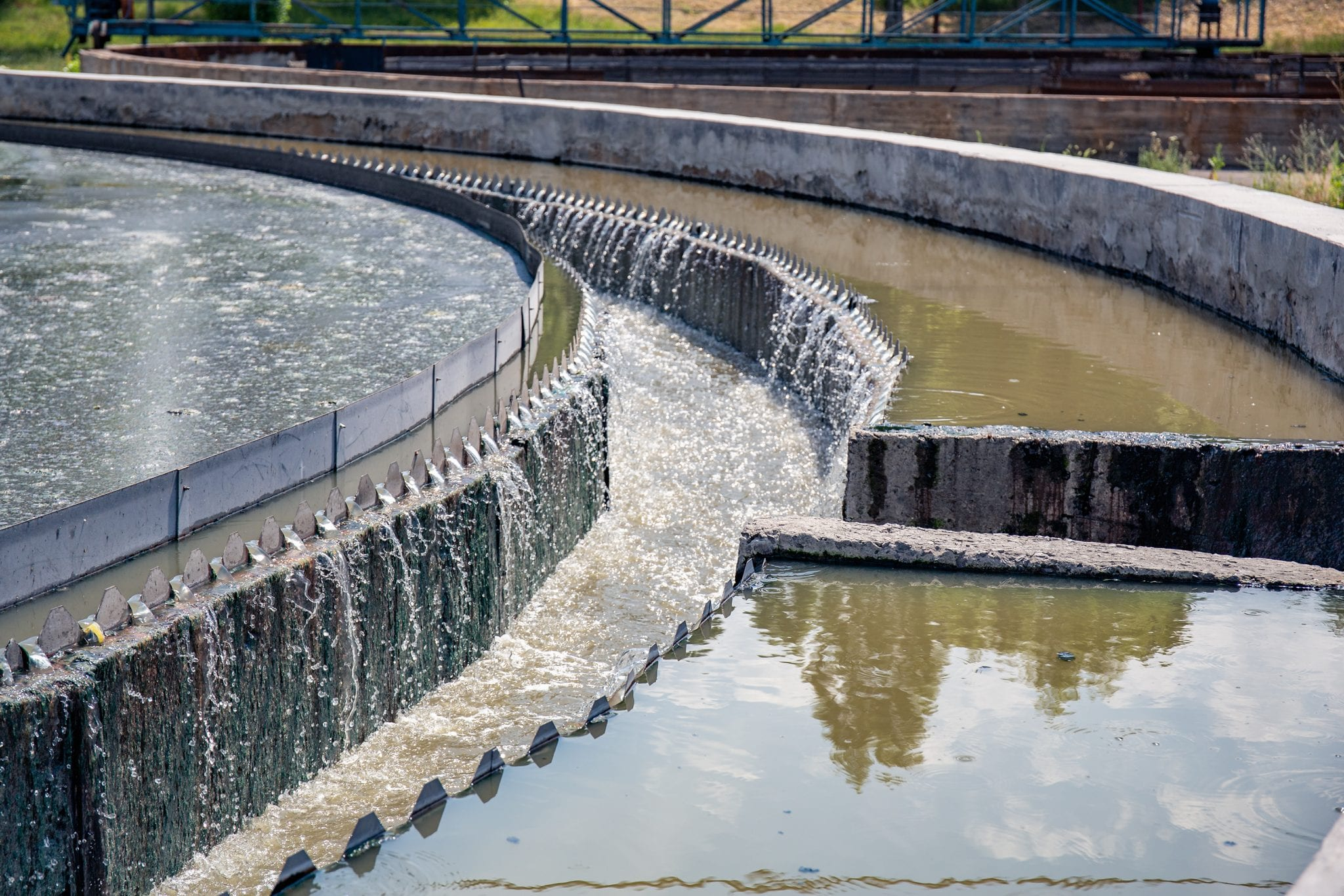Modern urban wastewater and sewage treatment plant with aeration tanks, industrial water recycling and purification.